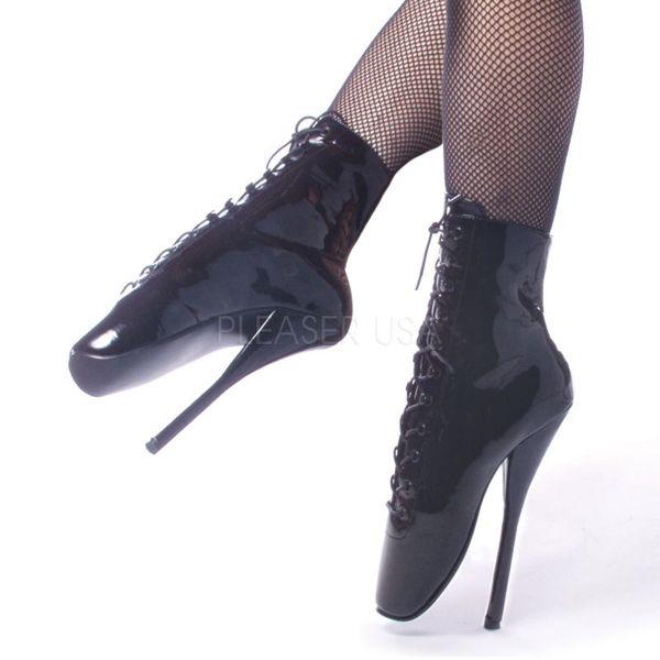 BALLET-1020 Ballett High Heel Stiefelette schwarz Lack